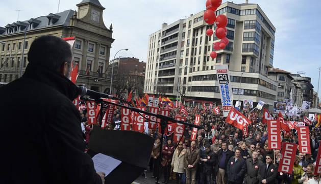 Manifestación en Pamplona contra la reforma laboral