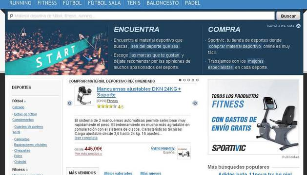 Pantallazo de la web Sportivic, la primer tienda online de material deportivo