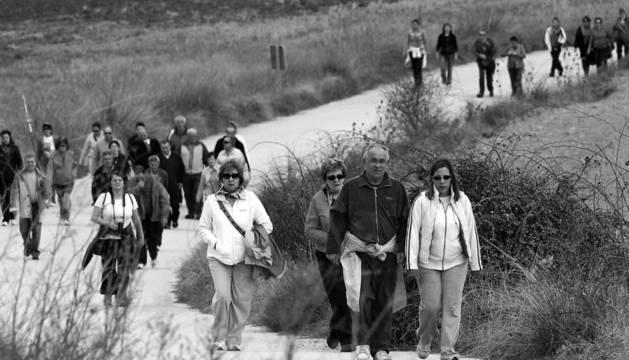 Decenas de personas participaron en la romería hasta la ermita de la Virgen de Andión desde Mendigorría, al fondo
