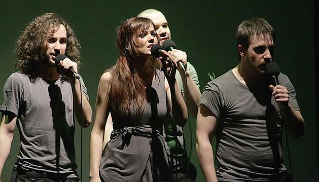 Actuación de Demode Quartet en la Escuela Navarra de Teatro en 2010