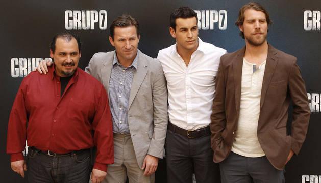 Los actores Joaquin Nuñez, Antonio de la Torre, Mario Casas y Jose Manuel Poga (de izda. a drcha.) durante la presentación de la película