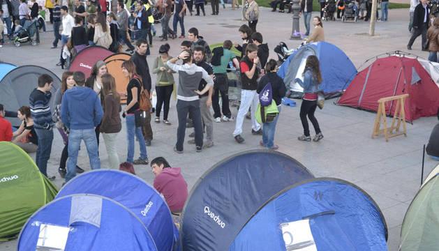 Su intención es permanecer en la Plaza del Castillo de Pamplona durante todo el fin de semana