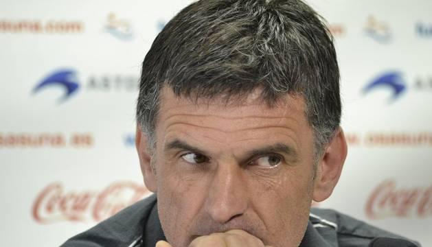 José Luis Mendilibar, entrenador de Osasuna, durante la rueda de prensa de este sábado en Tajonar