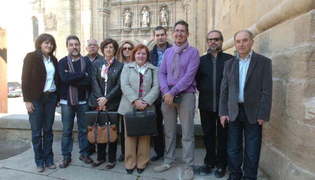 Parte de los periodistas que forman la Liga de Asociaciones de Periodistas del Camino de Santiago