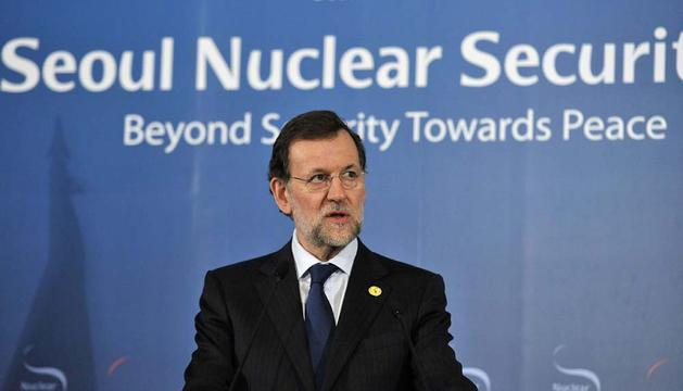 Mariano Rajoy, durante la rueda de prensa en Seúl