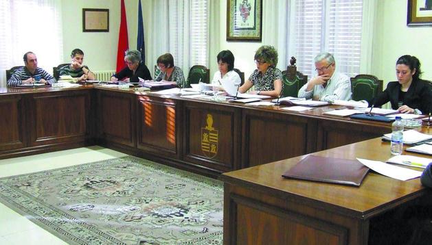 Parte de la corporación municipal durante el pleno celebrado el viernes en Castejón