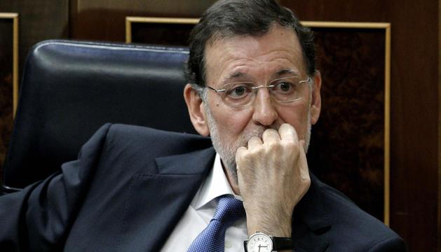 El presidente del Gobierno, Mariano Rajoy, este miércoles durante la sesión de control al Ejecutivo en el Congreso de los Diputados.
