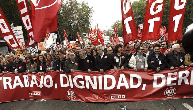 Imágenes de las concentraciones en las principales ciudades españolas, con motivo del Día del Trabajador