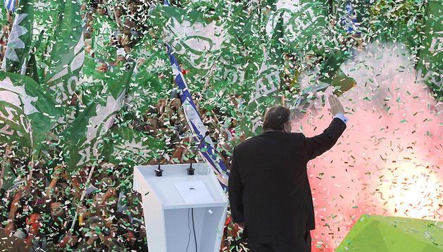 El líder socialdemócrata del Pasok, Evangelos Venizelos, durante un acto electoral celebrado en Atenas