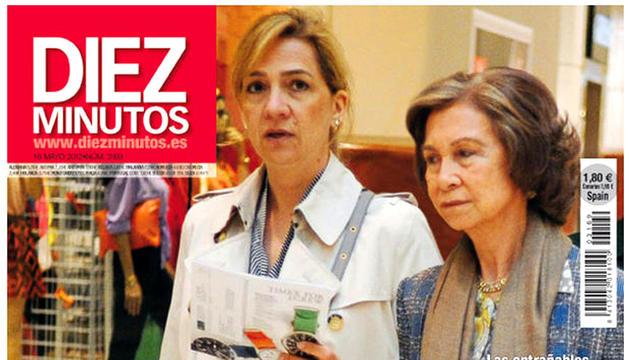 Imagen de la portada de la revista Diez Minutos en la que se ve, en la parte inferior, la noticia de la boda de Telma Ortíz y Jaime del Burgo en el Cerco de Artajona