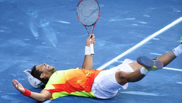 Verdasco celebra su victoria sobre Nadal en el Mutua Madrileña Madrid Open