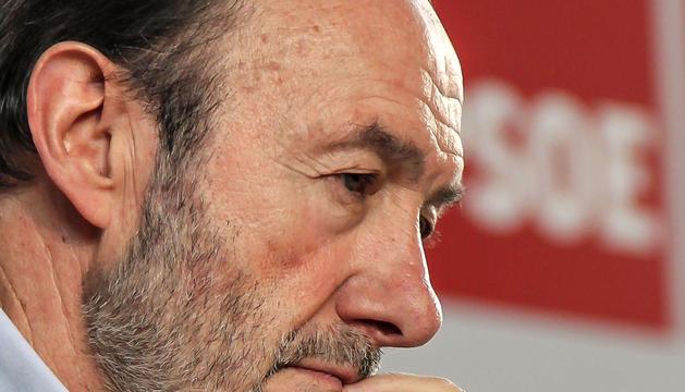 El presidente del PSOE, Alfredo Pérez Rubalcaba, durante el evento celebrado este domingo en La Rioja.