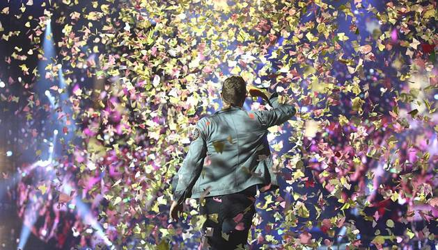 El grupo británico Coldplay ofreció este domingo, 20 de mayo, un concierto en el estadio Vicente Calderón en Madrid, donde presentaron su último disco,