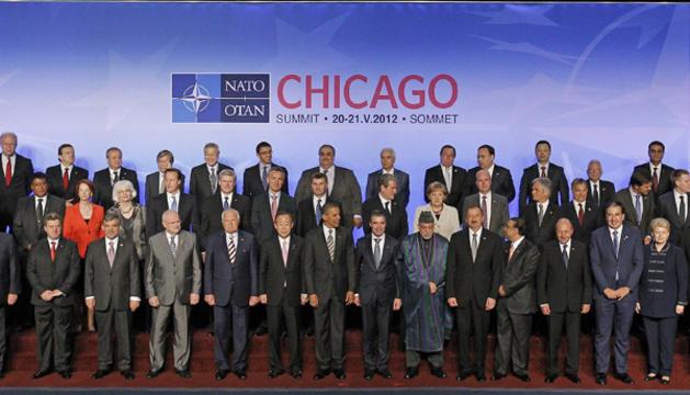 Jefes de Estado y de Gobierno durante la reunión de clausura de la OTAN.