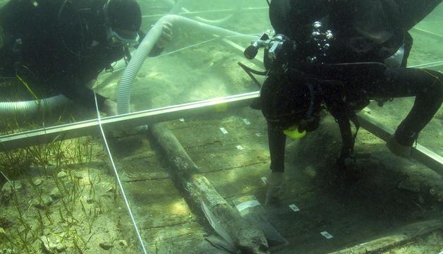 Imagen de los restos del barco más antiguo jamás hallado en el Adriático