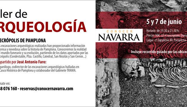 Imagen del taller de arqueología sobre las necrópolis de Pamplona, organizado por la revista Conocer Navarra