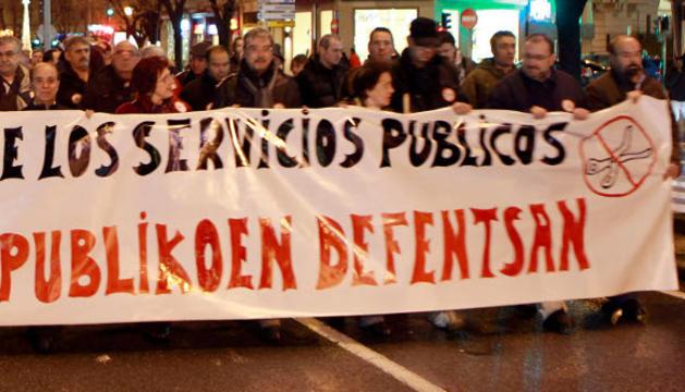 Una protesta de funcionarios en Pamplona