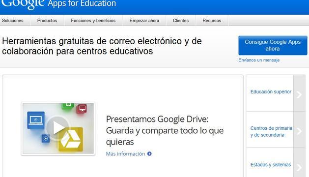 La aplicación 'Google Apps for Education' será implantanda en todos los colegios navarros
