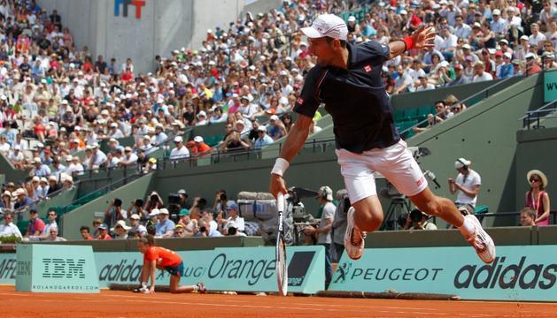 Djokovic, durante su partido ante el esloveno Blaz Kavcic
