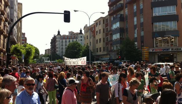 La manifestación en el Viejo Autobuses, hacia las 12 horas