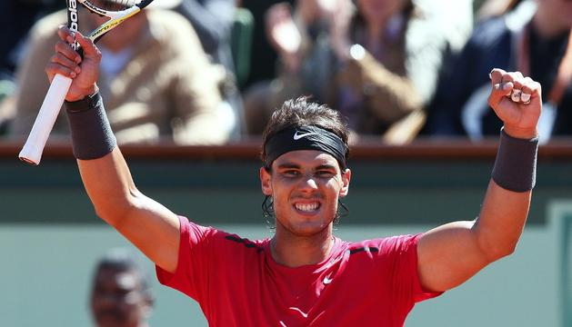 Nadal celebra su triunfo ante Ferrer