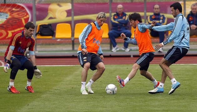 Casillas, Torres, Silva y Busquets