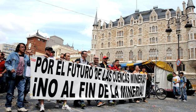 Mineros, manifestándose en León