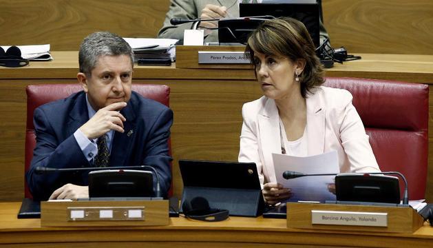 Barcina y Miranda, este viernes, en el Pleno