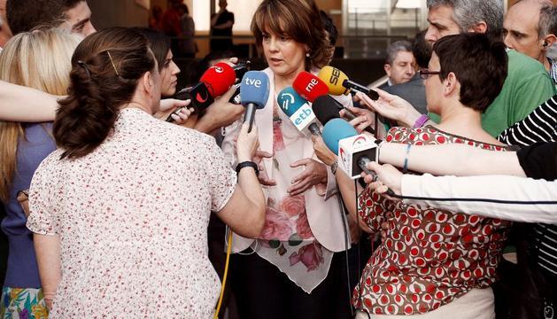 Barcina, a su llegada al Parlamento, este viernes