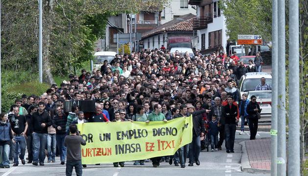 Trabajores de Inasa, protestando