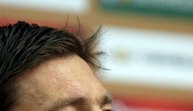 Xabi Alonso, durante la rueda de prensa que ha concedido este lunes