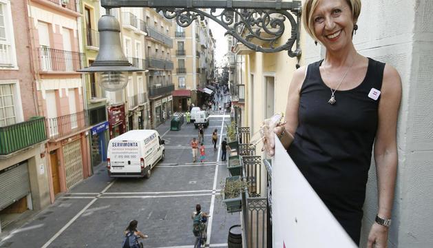 Rosa Díez, este viernes en Pamplona, inaugurando la sede de su partido