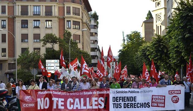 La manifestación, en las calles de Pamplona