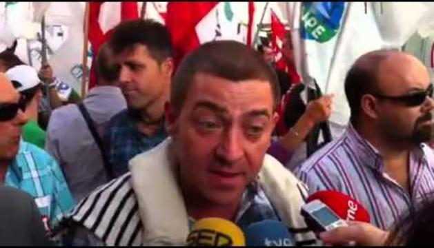 Roberto Jiménez, en la manifestación de Pamplona