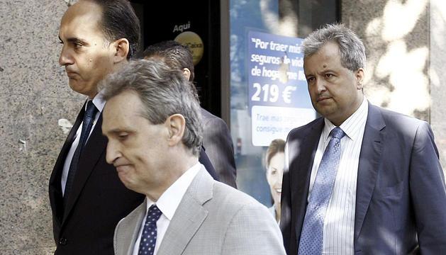 Los representantes legales de Bankia y de su matriz, BFA, a su llegada a la Audiencia Nacional