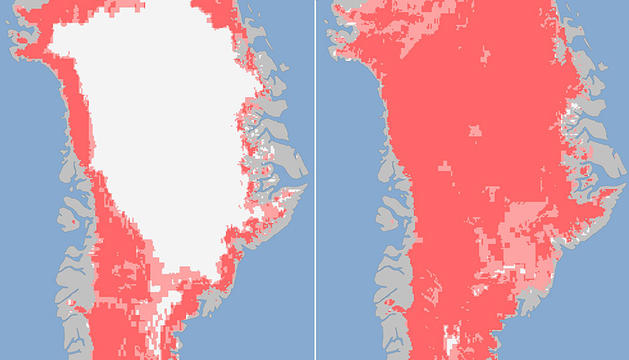 Groenlandia, a la izquierda el 8 de julio y, a la derecha, el 12 de julio