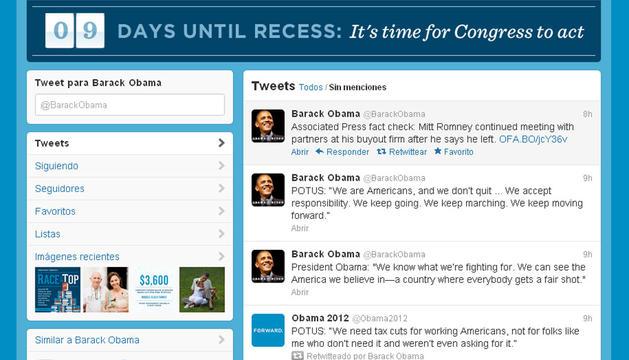 Captura de pantalla del perfil de twitter de Obama.