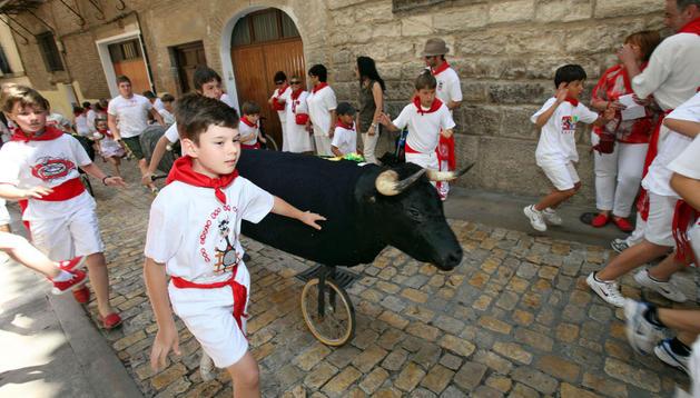 En el encierro infantil de Tudela de 2011