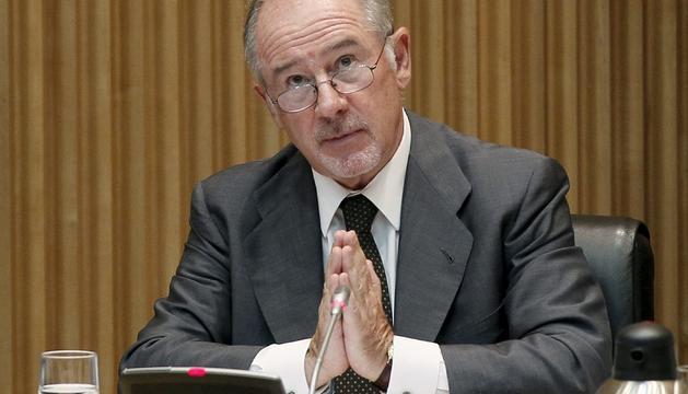 El expresidente de Bankia, Rodrigo Rato, durante su comparecencia