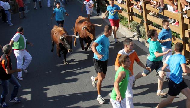 Los mozos corren el último encierro de Tudela.