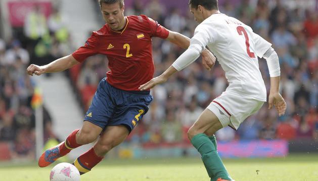 César Azpilicueta, que ha jugado como titular, durante el partido entre España y Marruecos