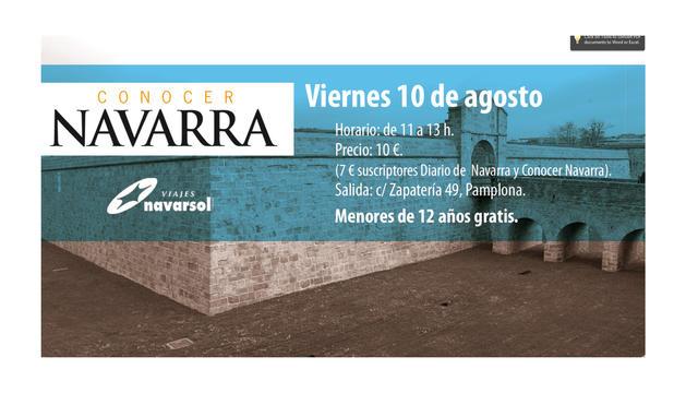 Cartel promocional de la visita al Casco Viejo de Pamplona organizada por Conocer Navarra