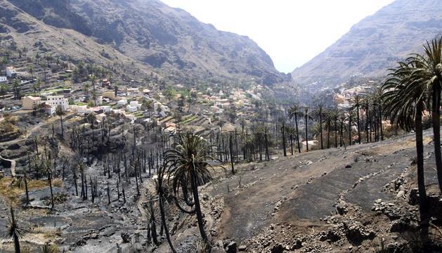 La zona de Guada, en la cabecera del barranco de Valle de Gran Rey, calcinado por el incendio que afecta a La Gomera