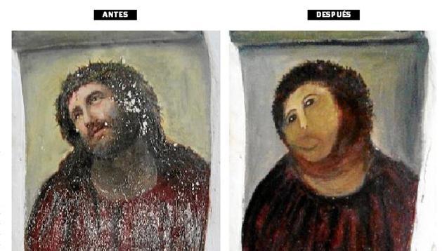 Antes y después de la pintura dañada
