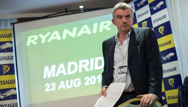 El presidente de Ryanair, Michael O'Leary, durante la rueda de prensa de este jueves.