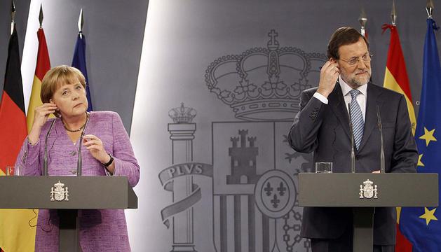 Merkel y Rajoy, antes de la rueda de prensa.