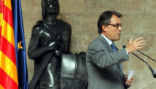 Artur Mas, compareciendo para valorar la multitudinaria manifestación de Barcelona