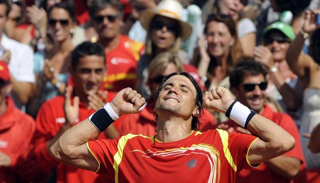 David Ferrer, celebrando su triunfo