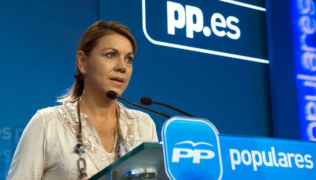La secretaria general del PP, María Dolores de Cospedal, durante la rueda de prensa