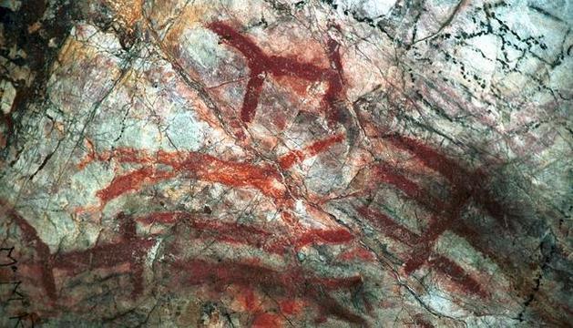 Imagen de archivo de varias pinturas rupestres